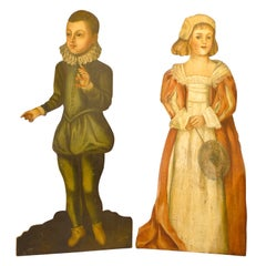 Pair of English 1860s Painted Dummy Boards of Boy and Girl in English Costumes