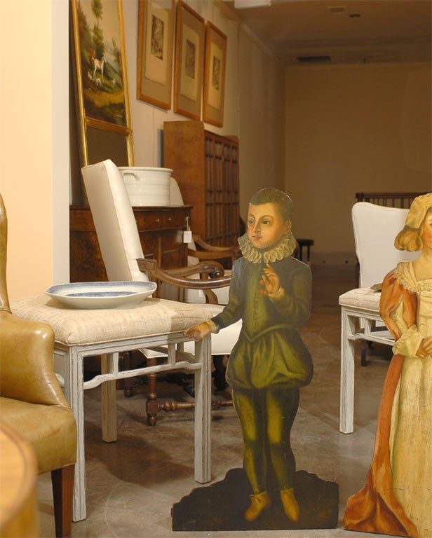 Victorian Pair of English 1860s Painted Dummy Boards of Boy and Girl in English Costumes For Sale