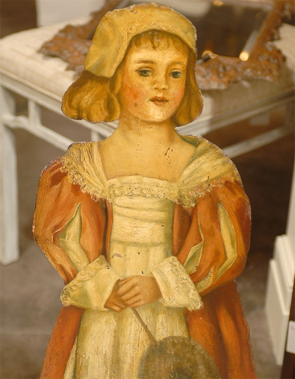 Pair of English 1860s Painted Dummy Boards of Boy and Girl in English Costumes For Sale 3