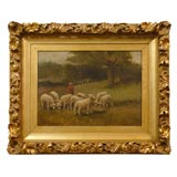 oil painting of Shepherd and sheep