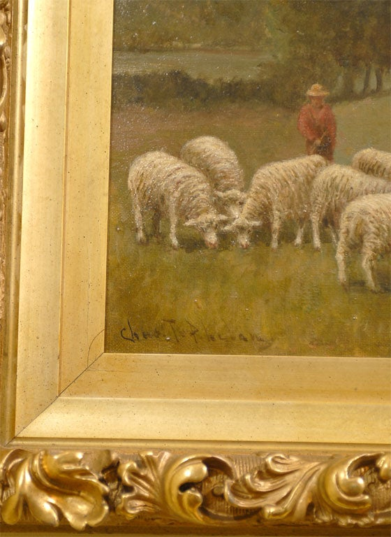 Oil Painting Of Shepherd And Sheep At 1stdibs
