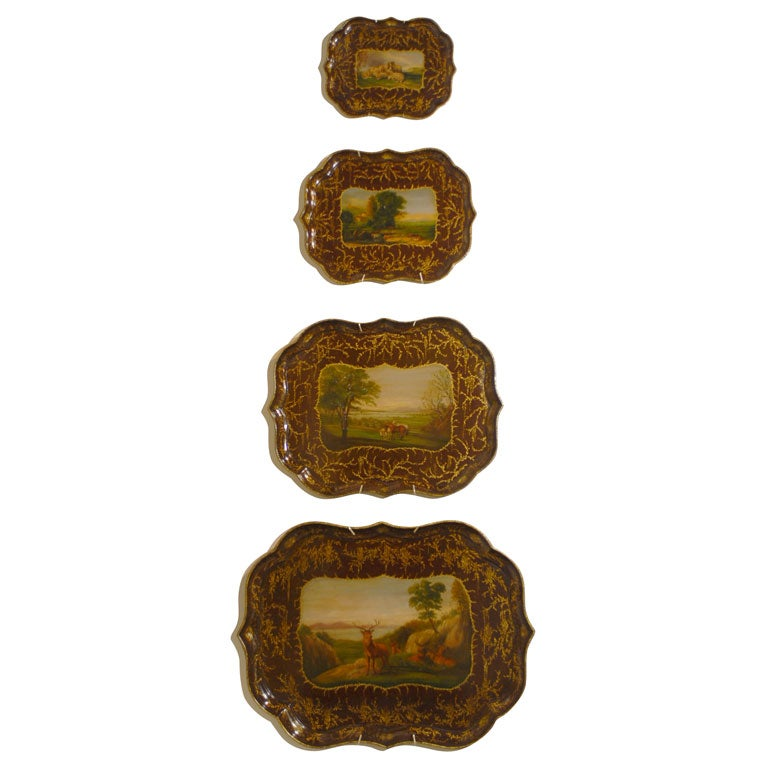 set of four Papier Mache trays at 1stdibs