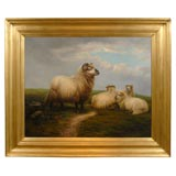 Very Large Oil Painting of Sheep in a landscape