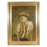 20thC OIL PAINTING OF BOY BY LISTED FLORIDA ARTIST