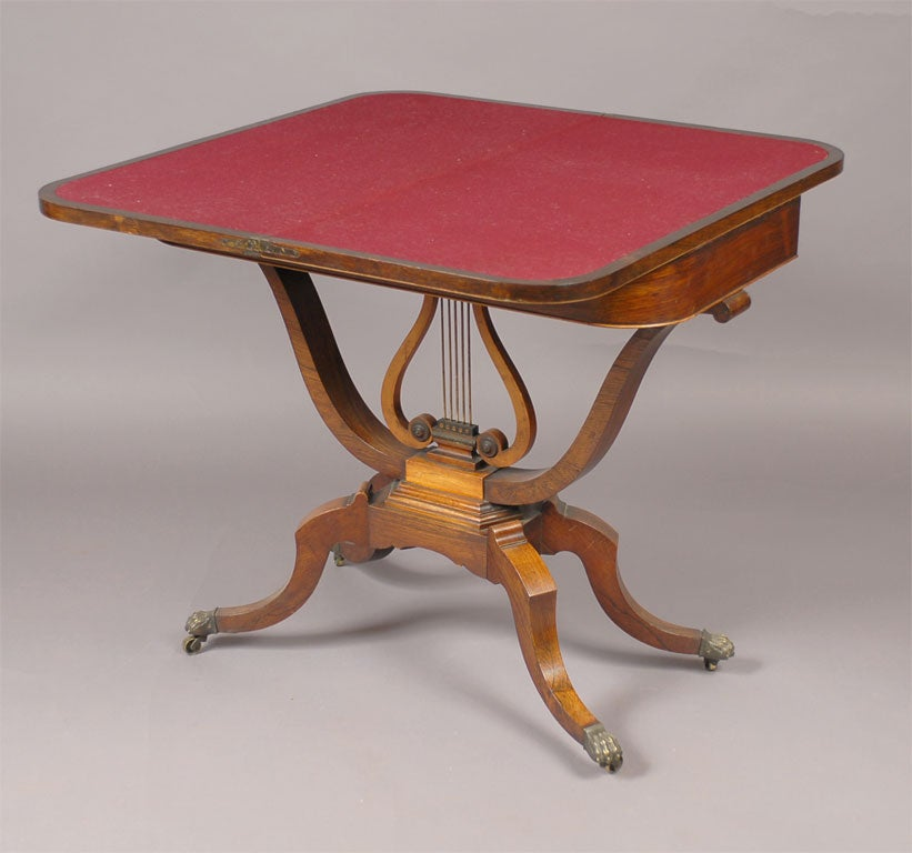 Regency game table in inlaid rosewood and lyre pedestal c for 11 in 1 game table