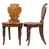 Pair George IV Shield-Back Hall Chairs in Mahogany, c. 1830