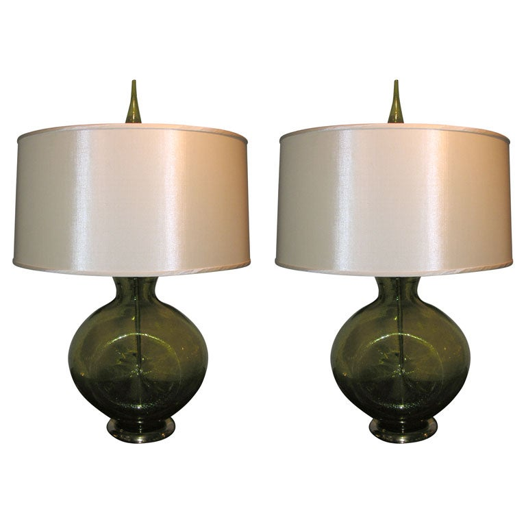 Pair of Modernist Art Glass Table Lamps by Blenko