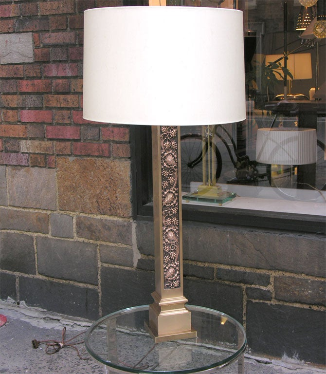 American Classical Pair of Modernist Bronze Architectural Table Lamps l For Sale
