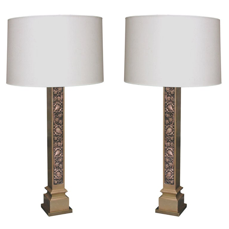 Pair of Modernist Bronze Architectural Table Lamps l