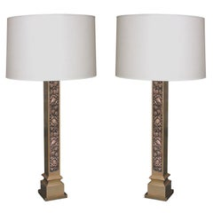 Table Lamps Pair Architectural patinated brass 1920's