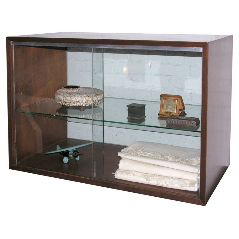 Mahogany sliding glass door cabinet by george nelson at Glass cabinet doors