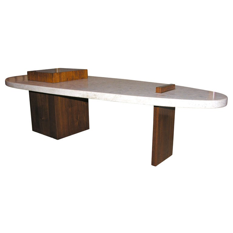 Rare Surfboard Form Terrazo Cocktail Table after Harvey Probber