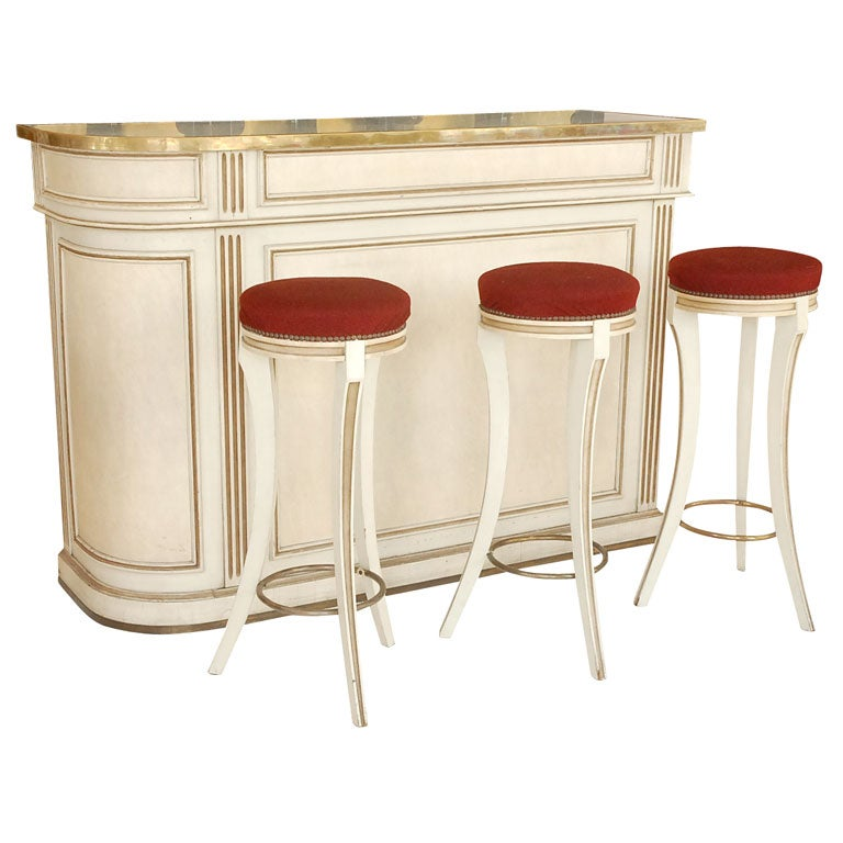 A Marble-Topped Bar and Stools by Maison Jansen