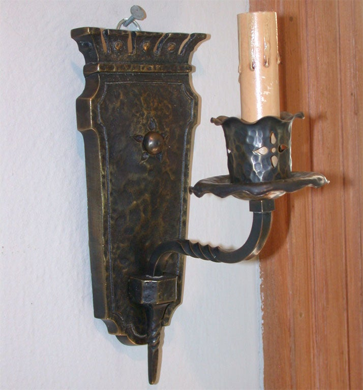 Pair of Bronze Mission Style Sconces at 1stdibs