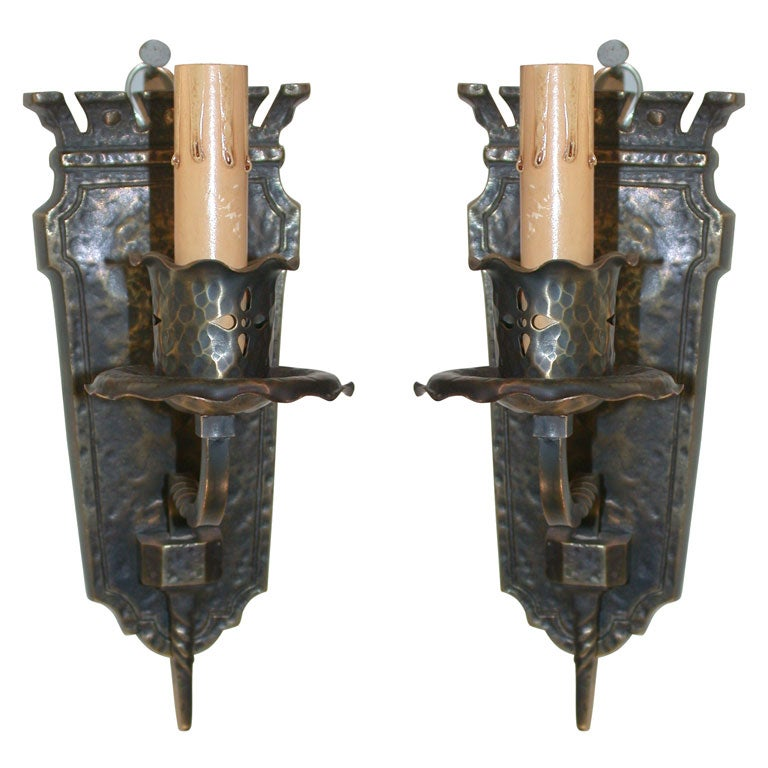 Wall Sconces Mission Style : Pair of Bronze Mission Style Sconces at 1stdibs