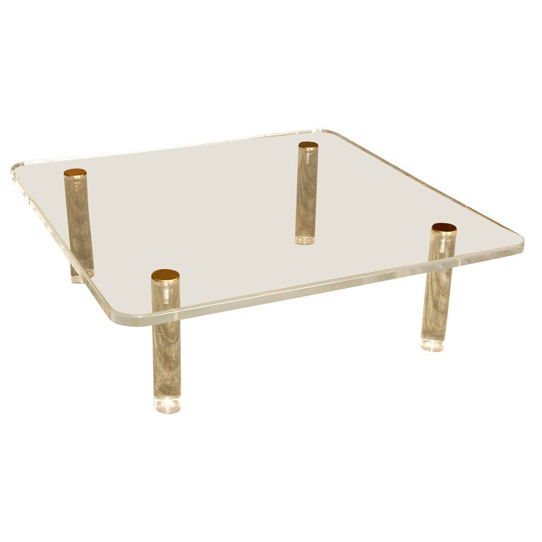 Large Square Lucite Coffee Table At 1stdibs