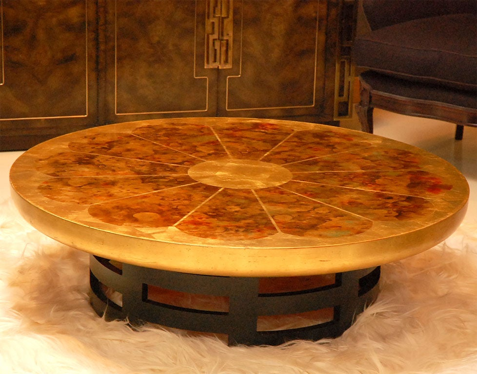 Gold Leafed Drum Cocktail Table By Theodore Muller At 1stdibs