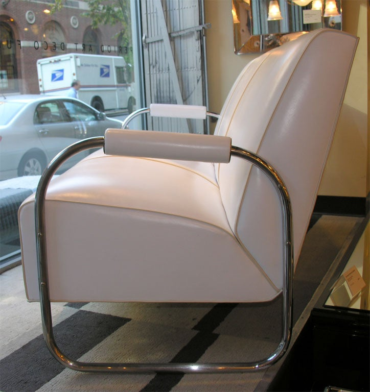 Art Deco Machine Age Streamline Sofa in Chrome and Leather by Gilbert Rohde 6