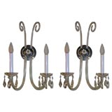 Pair of 1940 s Cut crystal Scroll sconces