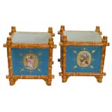 Pair of Porcelain Blue Cachepots by Vieux Paris, 19th Century Classical Motif