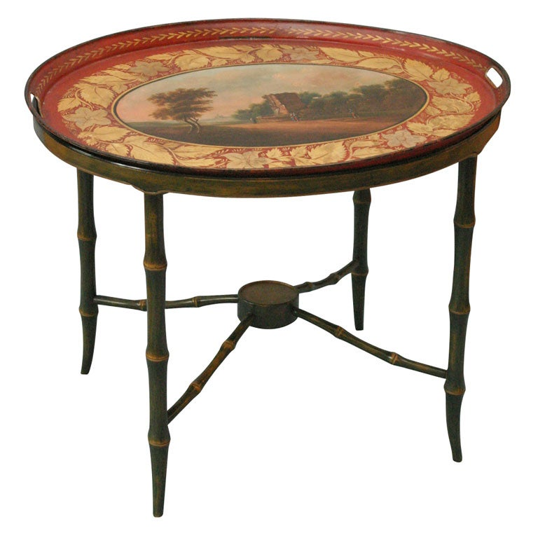 Scenic Tole Tray And Stand Serving Coffee Table At 1stdibs