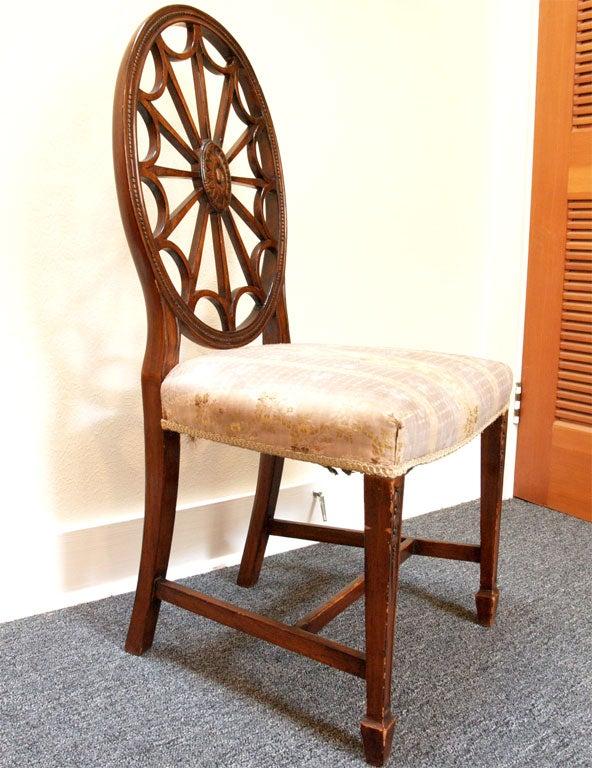 Set Of 8 English Mahogany Wheel Back Dining Chairs At 1stdibs