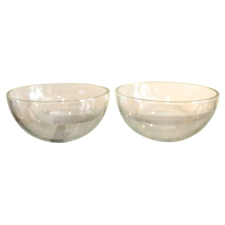 Pair Large Glass Hemispheres At 1stdibs