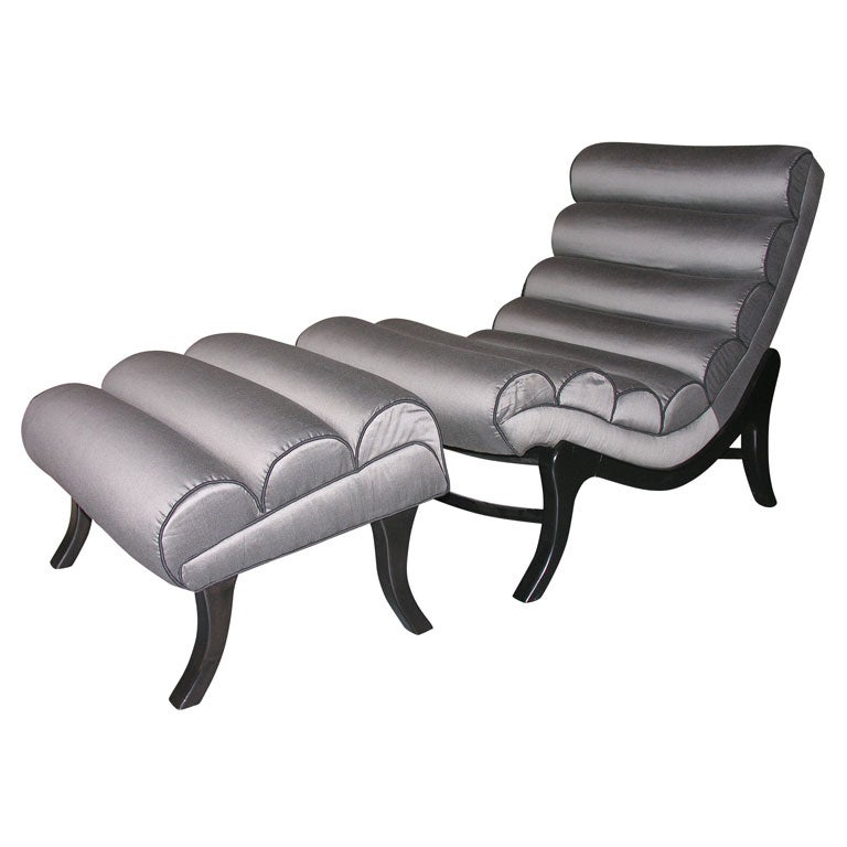 Kagan Style Chaise Lounge and Ottoman
