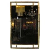 Carved Wood Motif Bamboo Gold Leaf Mirror, manner of James Mont