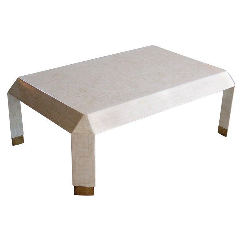 Bone Veneer Angular Coffee Table At 1stdibs