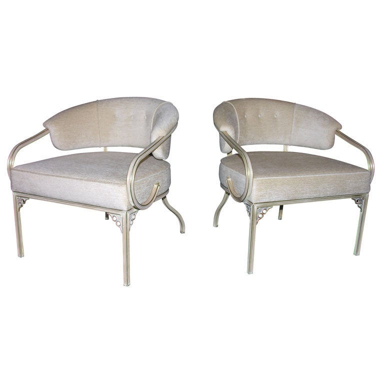 Highly Decorative Gold Painted Metal Chairs At 1stdibs