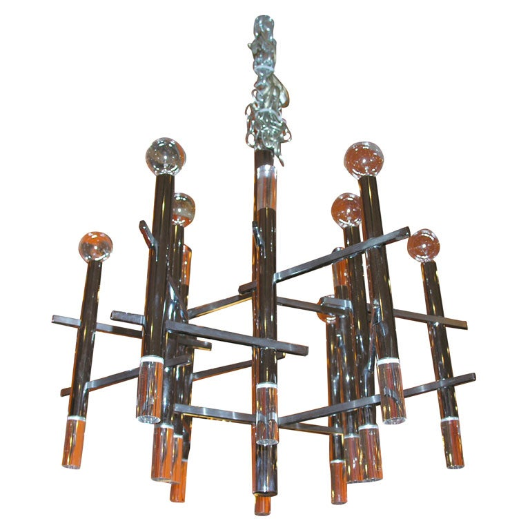 Chrome And Lucite Chandelier At 1stdibs