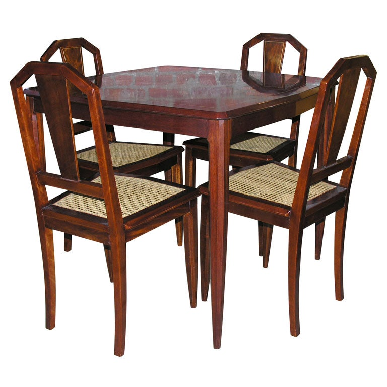 1940 39 s mahogany game table and chair set at 1stdibs for Dining room tables 1940s