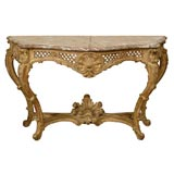 Large Regence Gilt-wood Console with Marble Top