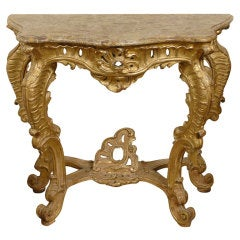 Northern Italian Gilt-wood Console with Marble Top, c. 1740