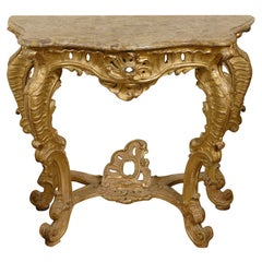Northern Italian Rococo Giltwood Console with Marble Top, circa 1740