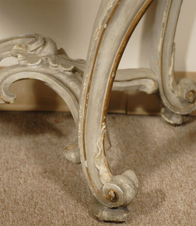 Hand-Carved Louis XV Period Painted and Gilt Serpentine Console, France, circa 1760 For Sale