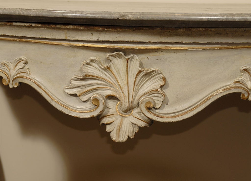 Louis XV Period Painted and Gilt Serpentine Console, France, circa 1760 For Sale 1