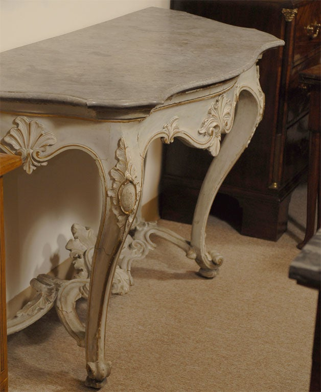 Louis XV Period Painted and Gilt Serpentine Console, France, circa 1760 For Sale 3
