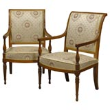 Pair of Directoire Arm Chairs in Walnut, c. 1795