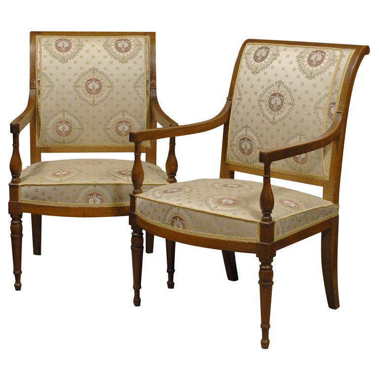Pair Of Directoire Arm Chairs In Walnut, C. 1795 1