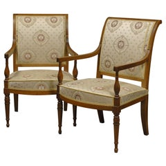 Pair of Directoire Armchairs in Walnut, circa 1795