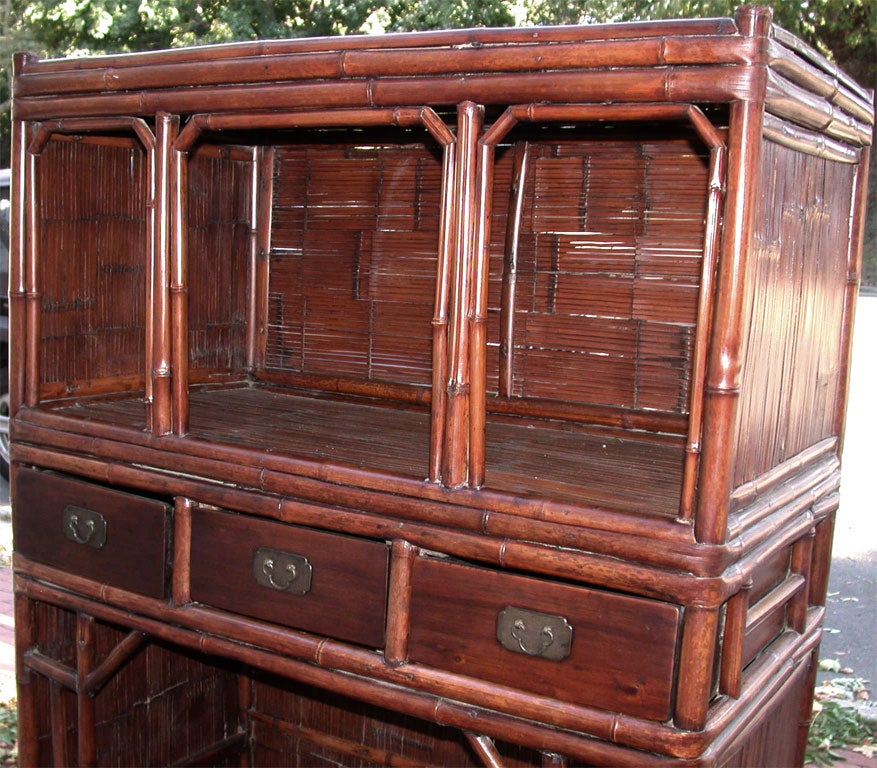 Late 19thc q 39 ing dynasty jiangsu slatted bamboo kitchen for Bamboo kitchen cabinets for sale