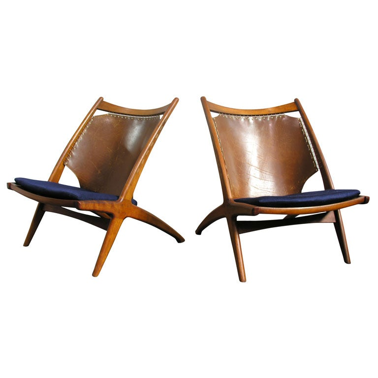 Frederik Kayser Teak And Leather Sling Back Lounge Chairs