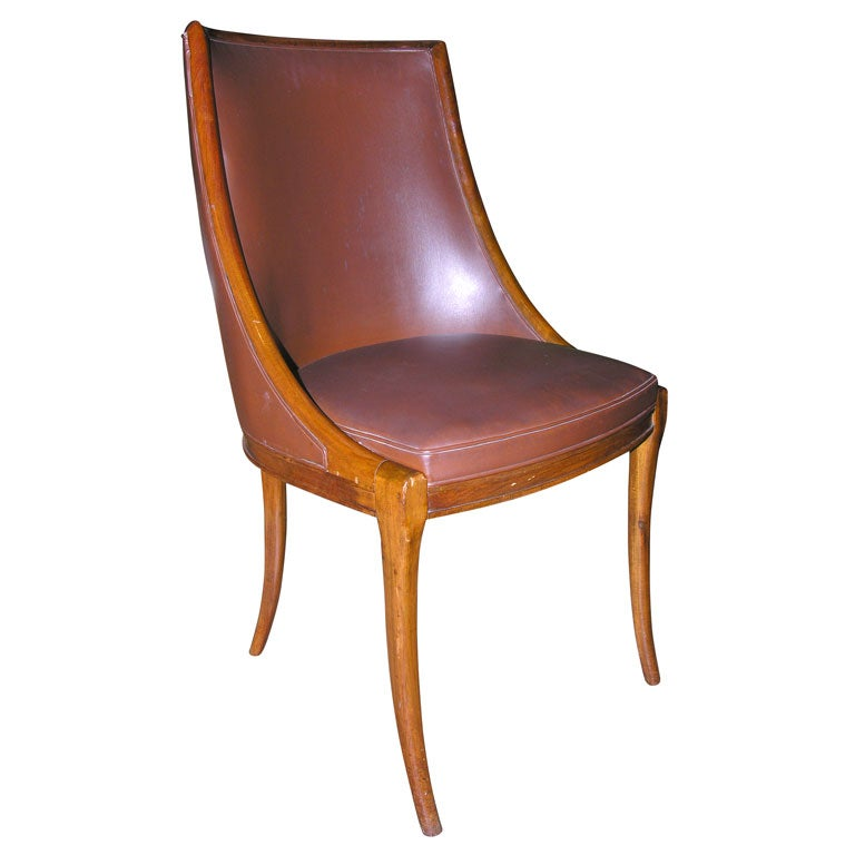 walnut and leather desk chair at 1stdibs