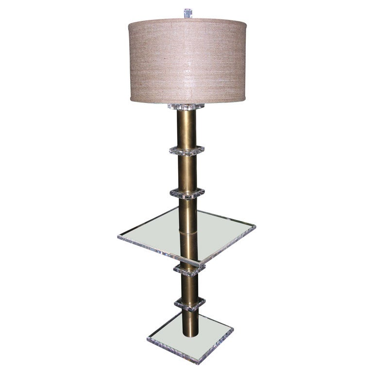 Lucite And Brass Standing Floor Lamp With Table At 1stdibs