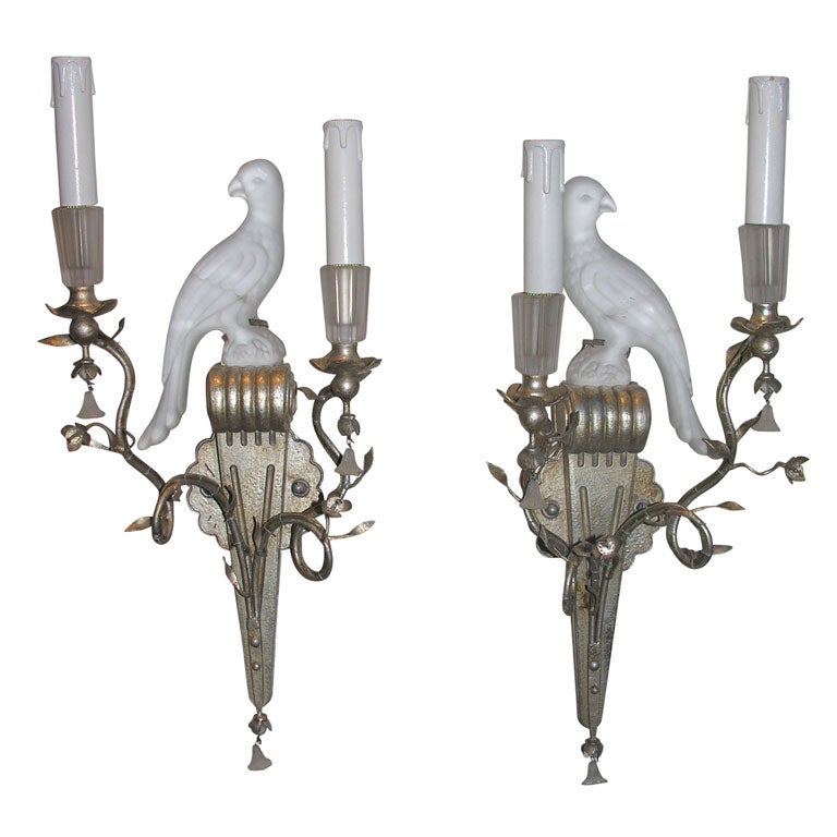 Wall Sconces With Birds : Pair of Glass and Silvered Bird Sconces at 1stdibs