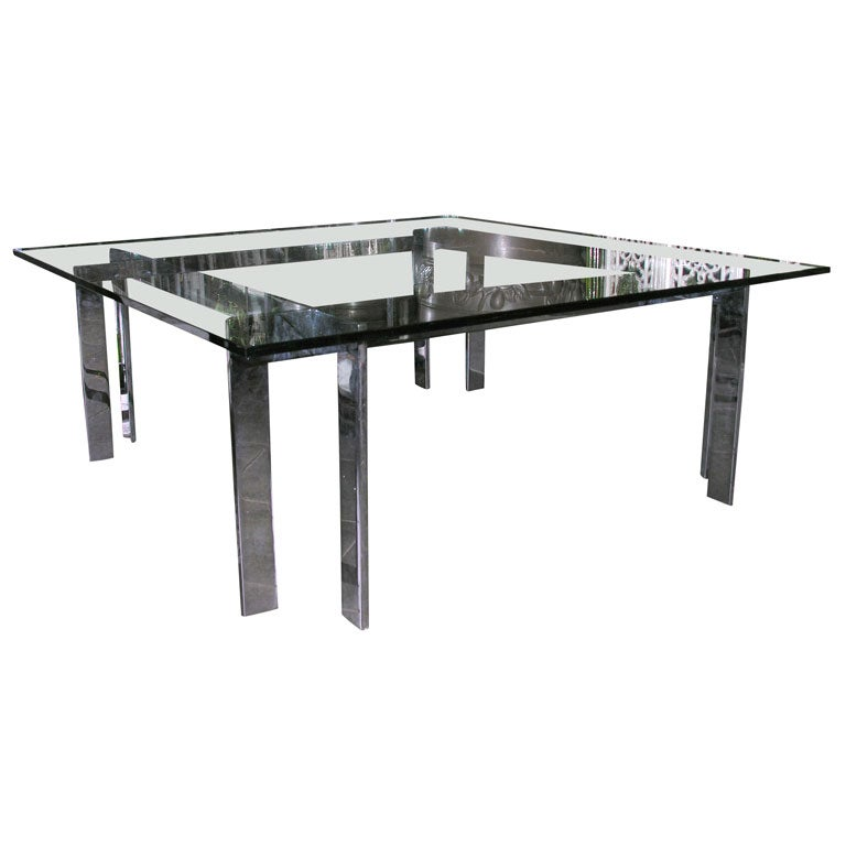 Antique Nickel Coffee Table: Nickel Coffee Table With Glass Top At 1stdibs