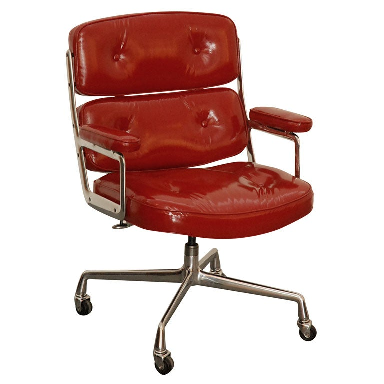 Patent Red Leather Time Life Chair At 1stdibs