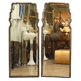 PAIR OF GRAY  PARCHMENT MIRRORS